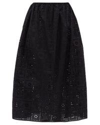 Matteau The Crochet Broderie オーガニックコットンスカート Black