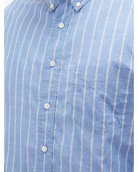 メンズ Schnayderman's ストライプ コットンボイルシャツ Blue