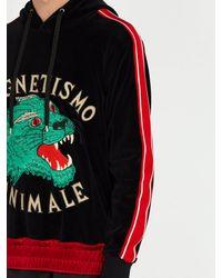 e3c51c0d Gucci Black Tiger Appliqué Velvet Hooded Sweatshirt for men
