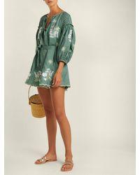 Innika Choo Green Embroidered Linen Smock Dress