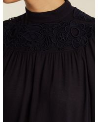 Chloé - Black Embroidered Crepe Blouse - Lyst