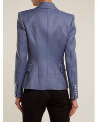 Balmain Blue Double-breasted Peak-lapel Piqué Blazer
