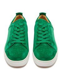 Baskets basses en daim Louis Junior Christian Louboutin pour homme en coloris Green