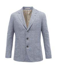 メンズ Brunello Cucinelli リネンブレンド シングルジャケット Blue