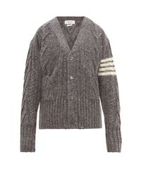 Thom Browne Gray 4 Bar Stripe Cable Knit Wool Blend Cardigan for men