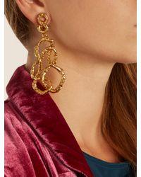 Oscar de la Renta - Metallic Entangled Drop Earrings - Lyst