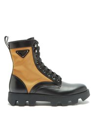 Prada Black Logo-plaque Nylon And Leather Boots for men