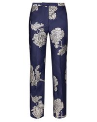 Alexander McQueen Blue Northern Rose Cigarette Trousers