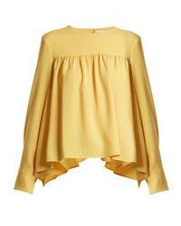 Sonia Rykiel Yellow Gathered Satin-crepe Blouse