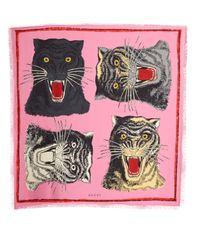 Gucci - Pink Tiger Face-print Silk-twill Scarf - Lyst
