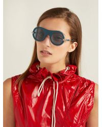 CALVIN KLEIN 205W39NYC Blue Round-frame Acetate Sunglasses