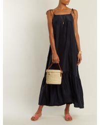 Loup Charmant Blue Kalahari Tie Shoulder Sandwashed Silk Dress