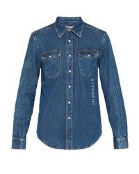 Chemise en denim à logo brodé Givenchy pour homme en coloris Blue