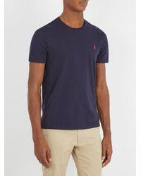 Polo Ralph Lauren - Blue Logo-embroidered Cotton-jersey T-shirt for Men - Lyst