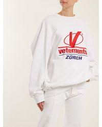 Vetements - White Logo-embroidered Cotton-blend Sweatshirt - Lyst