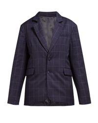 Martine Rose ビッグチェック パデッド ウールジャケット Blue