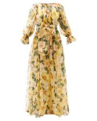 Dolce & Gabbana カメリアプリント シルクオーガンザドレス Yellow
