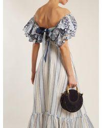 Gül Hürgel Blue Ruffled-sleeve Striped Linen Dress