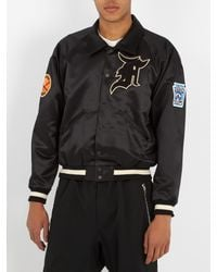 Fear Of God Black Logo-appliqué Duchess-satin Bomber Jacket for men