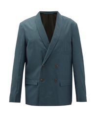 Lemaire Blue Shawl-lapel Double-breasted Jacket for men