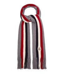 20504c47313 Lyst - Moncler Logo Print Wool Beanie Hat for Men
