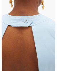 Three Graces London Blue Jolene Open-back Cotton-poplin Midi Dress