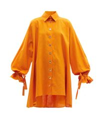 Halpern ベルテッド リネンコットンシャツドレス Orange