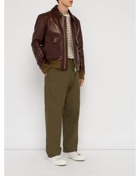 Deveaux Green Hammered Technical Fabric Trousers for men