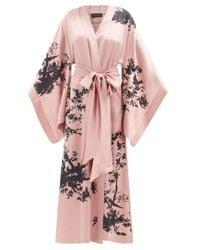 Carine Gilson バード シルクサテンナイトガウン Pink