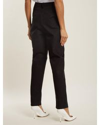 Tibi Black Easton Tweed Lace Up Detail Trousers