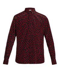 メンズ Saint Laurent ポルカドット シルクシャツ Red