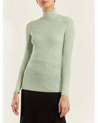 Prada Green High-neck Ribbed-knit Sweater