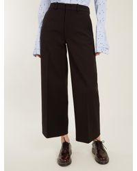 Joseph - Black Ferrandi Wide-leg Cropped Wool-blend Trousers - Lyst