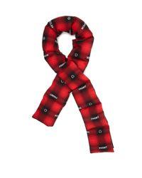 メンズ 7 MONCLER FRAGMENT ロゴジャカード チェックコットンスカーフ Red