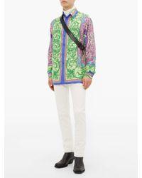 メンズ Versace メデューサプレート バックルレザーブーツ Multicolor