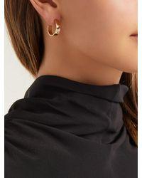 Azlee - Metallic Kite 18kt Gold & Diamond Hoop Earrings - Lyst