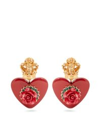Dolce & Gabbana - Red Crown And Heart-embellished Clip-on Earrings - Lyst