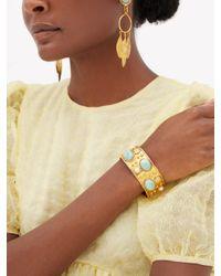 Sylvia Toledano アマゾナイトカボション ゴールドプレーテッドカフブレスレット Multicolor