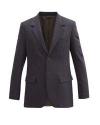 メンズ Acne ピンストライプ ウールツイル スーツジャケット Blue