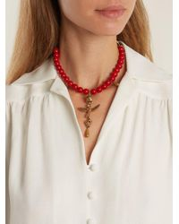 Valentino - Red Bead-embellished Necklace - Lyst