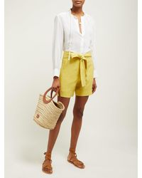 Zeus + Dione Yellow Minos High-rise Linen Shorts