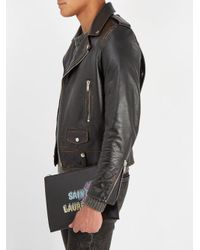 Saint Laurent - Black Logo Print Leather Pouch for Men - Lyst