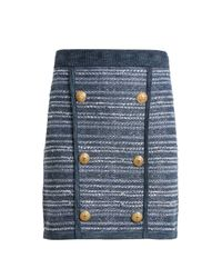 Balmain - Blue Button-embellished Striped Stretch-knit Mini Skirt - Lyst