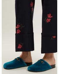 Gucci Blue New River Velvet Loafers