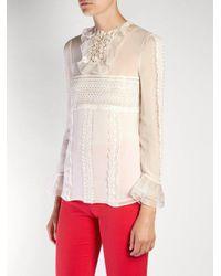 Giambattista Valli White Lace-panelled Silk-georgette Blouse