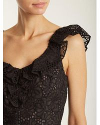 Rebecca Taylor Black Malorie Floral-lace Embroidered Silk Top