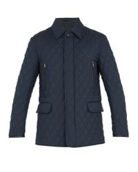 Brioni Blue Diamond-quilted Wool And Silk-blend Field Jacket for men