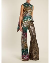 Halpern Multicolor Sequin-embellished High-rise Flared Trousers