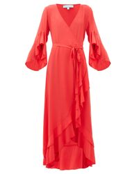 Melissa Odabash Cheryl ラッフル ラップドレス Red