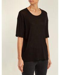 Saint Laurent Black Scoop-neck Cotton-blend T-shirt